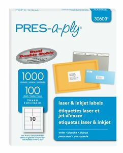 Pres a ply Laser Labels 2 X 4 Inch White 1000 Count 30603