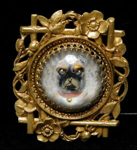 Antique Vtg Button Large Hand Painted Glass Intaglio Boxer Dog In Brass Nice