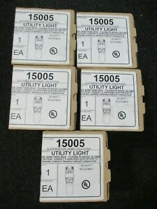 Lot Of 5 New Epco 15005 Damp Location Utility Lights With Junction Boxes