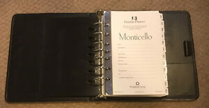Franklin Covey Black 7 Ring Classic Planner Binder W monticello Insert Pages
