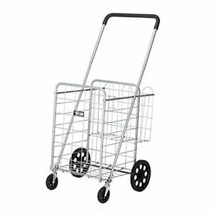 Jumbo Folding Grocery Shopping Cart Easily Collapsible Heavy Duty Silver
