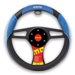 New Momo Blue Black Car Steering Wheel Cover Pu Leather Size M 14 5 15 5