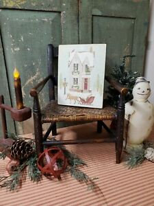 Old Vintage Folk Art Victorian Primitive Style Christmas Colonial House Sign