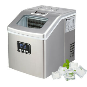 New 40lbs day Portable Electric Ice Maker Countertop Cube Compact Machine Sliver