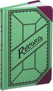Boorum Pease 667r Miniature Account Book Green red Canvas Cover 200 Pages 9