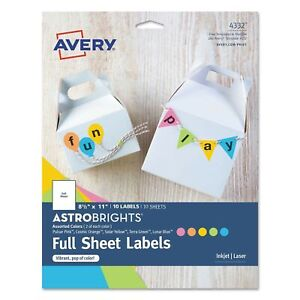Avery Full sheet Labels Assorted Bright Colors 8 5 X 11 Laser inkjet 10