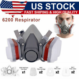 7in1 Half Face Gas Mask Facepiece Spray Painting 6200 Respirator Safety Protect