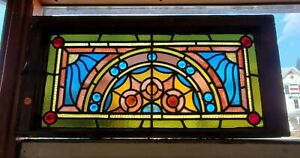 Great Antique Jeweled Stained Glass Transom Window 14 X 30