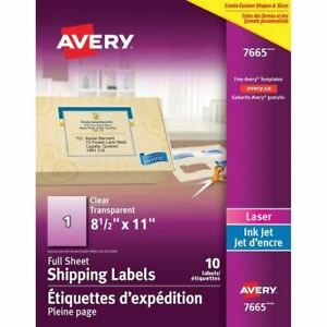 Avery Full Sheet Shipping Labels Ave7665
