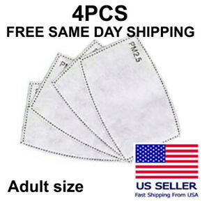 4 Pack Adult Pm2 5 5 Layer Carbon Face Super Fresh Air Mask Filter Replacements