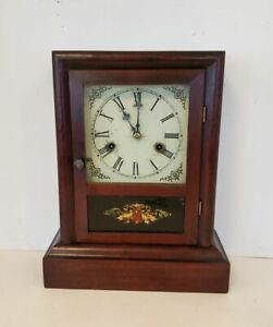 Antique 30 Hour Gilbert Cottage Clock Shelf Reverse Painting Of Rams Head Works