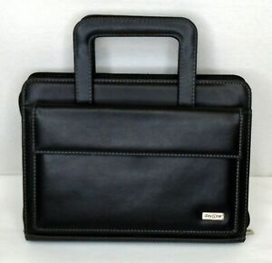 Franklin Covey Day One Black Faux Leather Zip Planner Organizer Handle 8x11