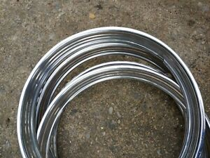 1940s 50s Ribbed Trim Rings Hubcaps Wheel Cover Vintage Antique Rat Rod 15 In