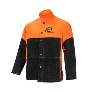 Sa Heavy Duty Hybrid Welding Jacket Cotton And Suede Leather Orange black