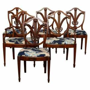 Antique Set Of Six Federal Mahogany Wheat Carved Shield Back Dining Chairs C1920