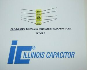 Illinois 022uf 630vcapacitors Polyester Film Axial Lead Capacitor Set 5