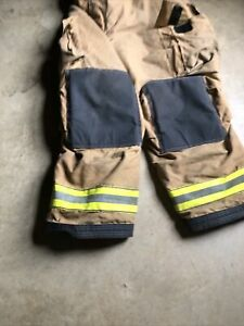 46x30 Globe Gxtreme Brown Firefighter Turnout Pants With Suspenders Mint