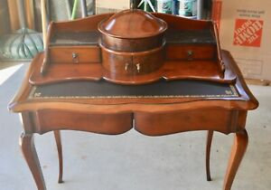 Beautiful Unique Vintage Writing Desk Secretary Wood Leather And Marble
