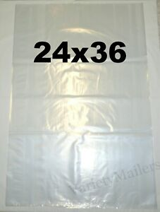 4 Extra Large 24x36 Sturdy 2 Mil Clear Flat Plastic Merchandise Bags