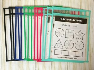 15 Pack Assorted Reusable Dry Erase Pocket Sleeves Sheet Protectors