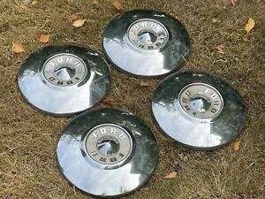 4 Ford Fairlane Sunline Mainline Dog Dish Hubcap 1955 1956 10 5 Chrome Covers