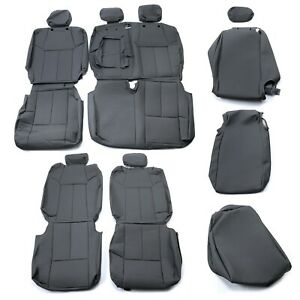 For 14 21 Toyota Tundra Crew Max Front Rear Seat Covers Kit Upgrade Leather Gray