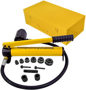 Hfs r 10 Ton Hydraulic Knockout Punch Hole Driver Kit Complete Tool Set With 6 D