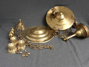 Two Antique Brass Pan Ceiling Fixtures For Restoration