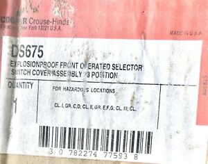 Crouse Hinds Ds675 Explosion Proof 3 Position Switch Cover Hazardous Location