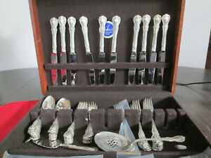 Vintage Towle Old Master Sterling Silver Flatware Set With Chest 61 Pieces