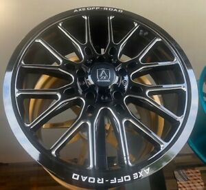 4 New 22x9 5 Axe Off Road Atlas Black Milled Wheels 6x5 5 6x139 Chevy 6x135 Ford
