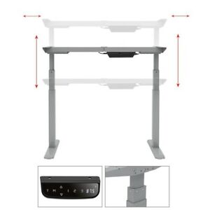 Electric Sit Stand Desk Frame Height Width Adjustable Dual Motor Steel Gray