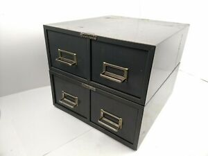 Lot Steelmaster Metal Index Card Cabinet 2 Drawer Index File Gray Stackable 3x5