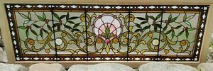 Large Antique Stained Glass Transom Window 26 X 72