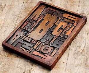 Unique Collage Composition Letterpress Wood Type Characters Drawer Awesome Rare