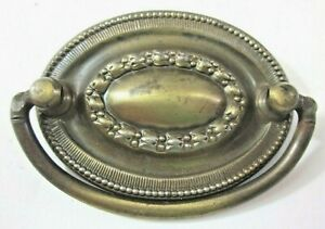Drawer 1900s Oval Drop Bail Pull Handle Aged Dark Brass 2 Centers 1 Antique