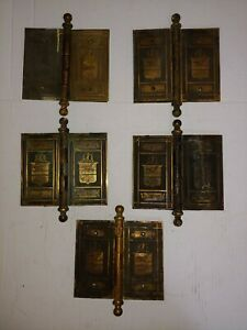 C1890 Victorian Mansion Size Brass Door Hinges 5 W Plates Sailing Ship 6 X 7