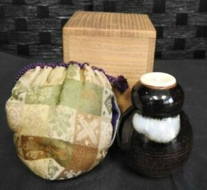 Tea Caddy Ceremony Zeze Ware Japanese Pottery Container H7 6cm With Wooden Box