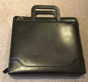 Franklin Quest Retractable Handle Black Aniline Leather Monarch 7 Ring Binder
