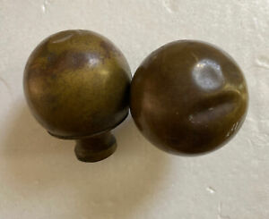 Vintage Brass Bed Post Finial Balls Set Of 2 Salvaged Parts Furniture