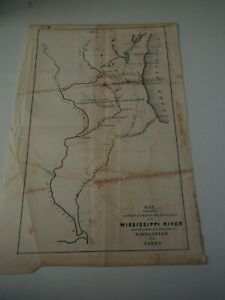 Antique Map Map Exhibiting Routes By Which The Navigation Of The Miss River