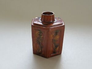 Antique Chinese Sancai Tea Caddy Wood Lid Calligraphy Qing Dynasty Nr