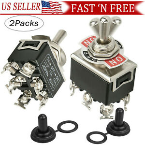2 X 6pin Dpdt Momentary Toggle Switch Boot Cap 15a 380v On off on Amp Waterproof