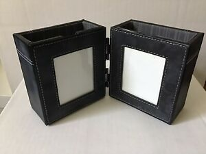 Picture Frames 2 With Pen pencil Holder Leather Look Desk Organizer