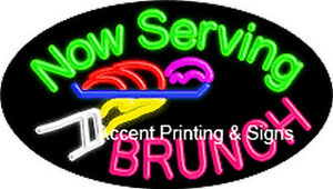 Now Serving Brunch Flashing Glass Handcrafted Neon Sign