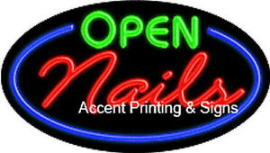 Open Nails Flashing Real Glass Handcrafted Neon Sign