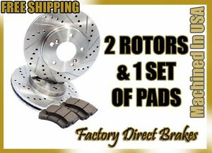 Front Premium Drilled Slotted Brake Rotors Ceramic Pads W Brembo Calipers