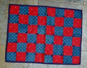 Red Blue Polka Dot 1 Patch Antique Doll Quilt Nice