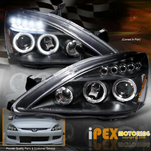 For 03 07 Honda Accord 2dr Coupe 4dr Sedan Halo Projector Led Headlights Black