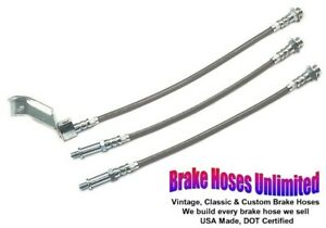 Stainless Brake Hose Set Ford Mustang 1965 1966 Front Drum With Dual Exhaust